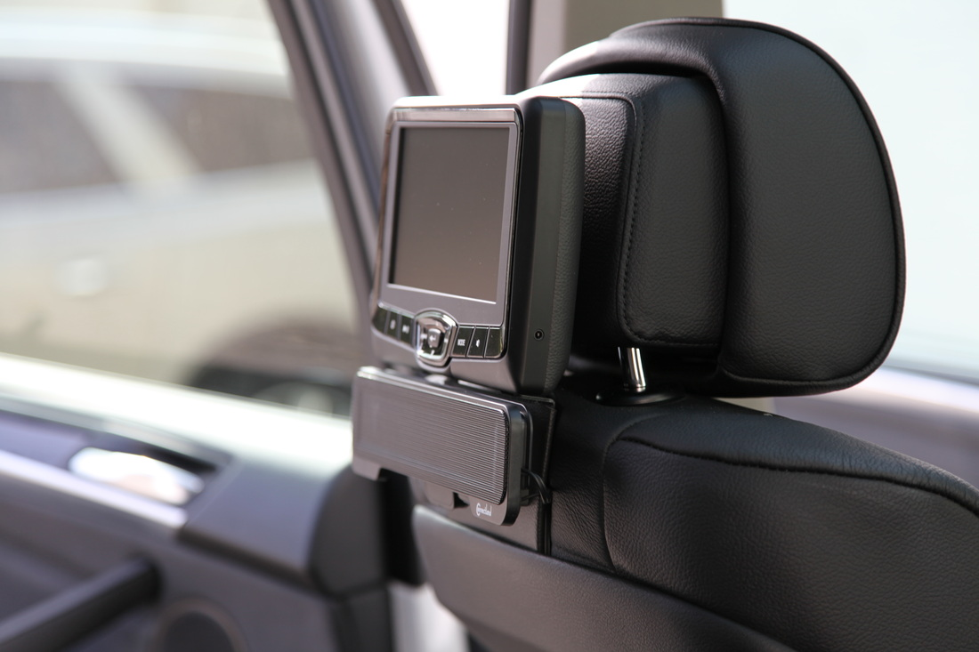 active dvd headrest with speakers